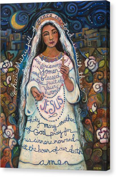 Catholic Canvas Print - Hail Mary by Jen Norton