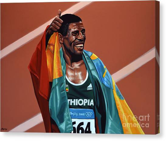 Athlete Canvas Print - Haile Gebrselassie by Paul Meijering