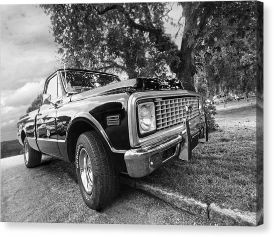 Halcyon Days - 1971 Chevy Pickup Bw Canvas Print