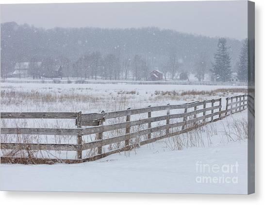 Hale Farm At Winter Canvas Print by Joshua Clark