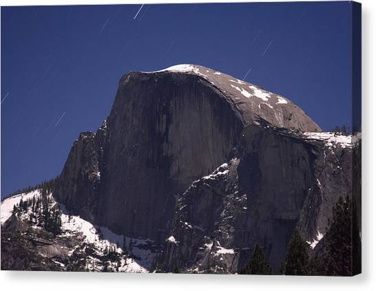 Half Dome And Star Trails Canvas Print by Richard Berry