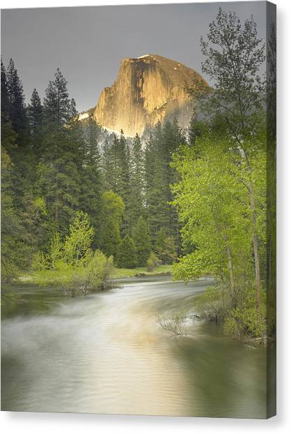 Half Dome And The Merced River At Sunset Canvas Print