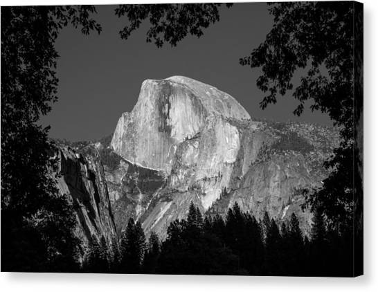 Half Dome Black And White Canvas Print