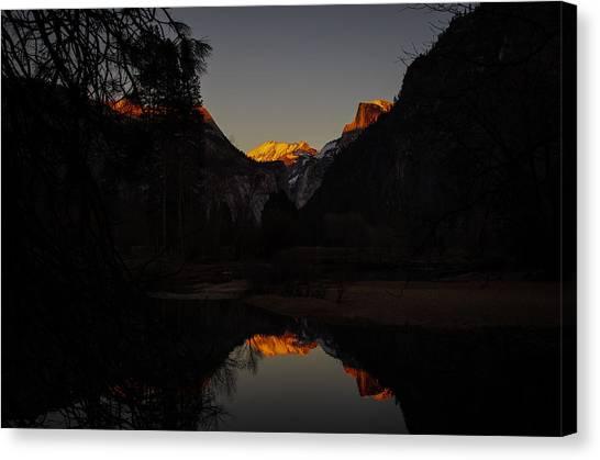 El Capitan Canvas Print - Half Dome Sunset Reflection by Scott McGuire