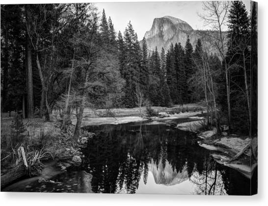 Canvas Print featuring the photograph Half Dome - Yosemite In Black And White by Gregory Ballos