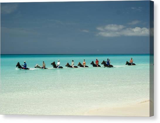 Cruise Ships Canvas Print - Half Moon Cay Bahamas Beach Scene by David Smith