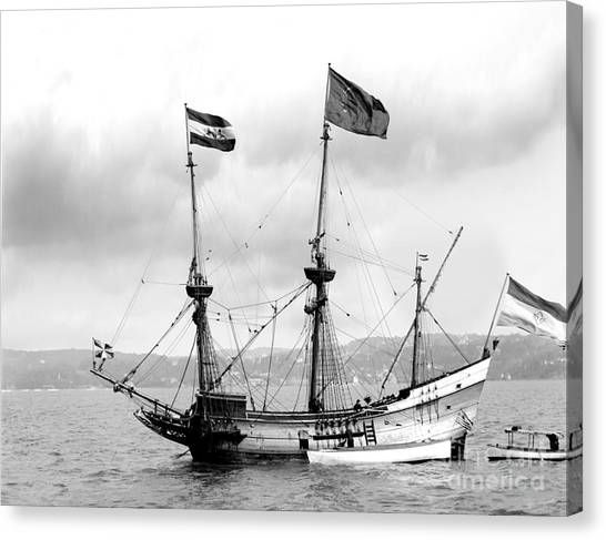 Half Moon Re-entered Hudson River After An Absence Of 300 Years In Black And White Canvas Print
