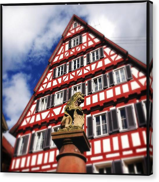 Lions Canvas Print - Half-timbered House 07 by Matthias Hauser