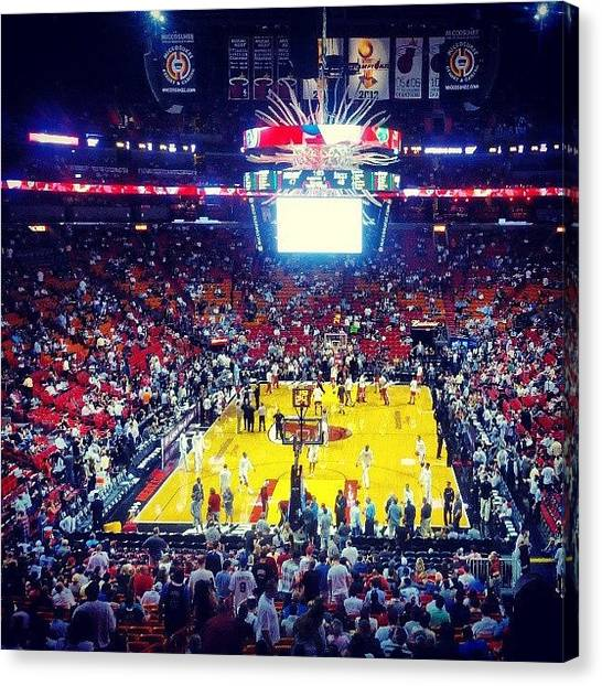 Miami Heat Canvas Print - #halftime #heat Vs #bucks #miamiheat by Allyn Alford