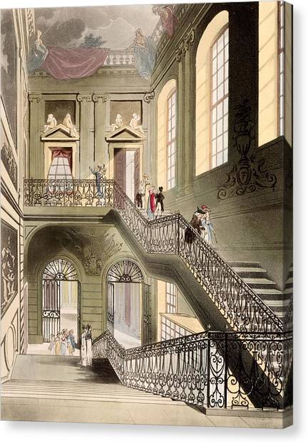 The British Museum Canvas Print - Hall And Staircase At The British by T. & Pugin, A.C. Rowlandson