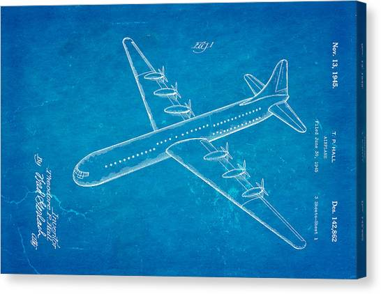 Airplane blueprint canvas prints page 3 of 19 fine art america airplane blueprint canvas print hall xc 99 airplane patent art 1945 blueprint by ian monk malvernweather Image collections