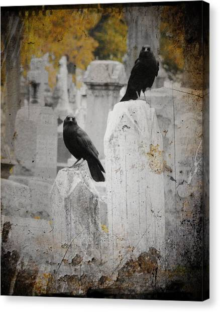 Ravens In Graveyard Canvas Print - Halloween Is In The Autumn Air by Gothicrow Images