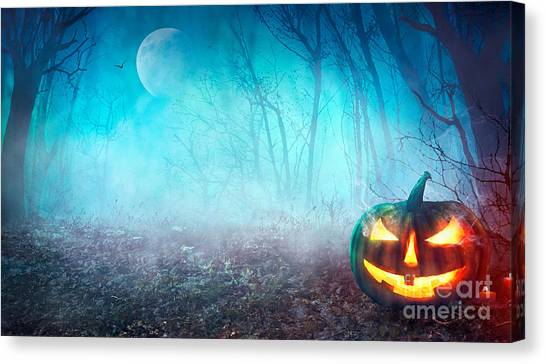 Medieval Canvas Print - Halloween Background. Spooky Pumpkin by Mythja