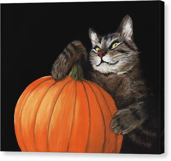 Pumpkins Canvas Print - Halloween Cat by Anastasiya Malakhova