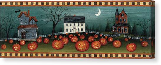 Pumpkin Patch Canvas Print - Halloween Eve Crescent Moon by David Carter Brown