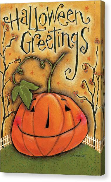 Halloween Canvas Print - Halloween Greetings by Anne Tavoletti