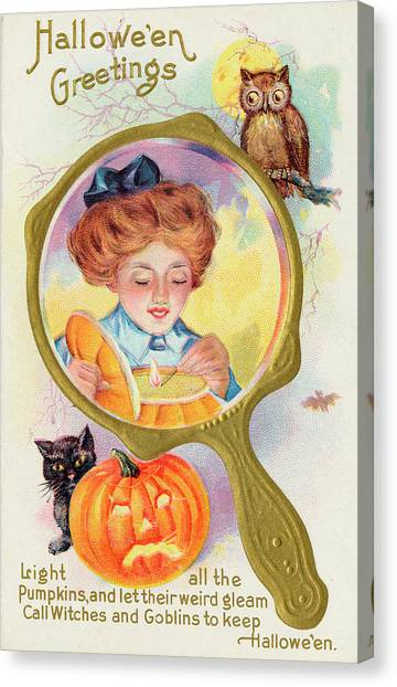 Hallowe'en Magic - Lighting Canvas Print by Mary Evans Picture Library