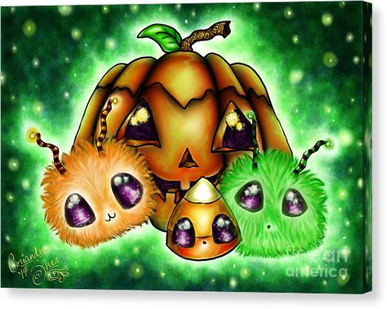 Halloween Menagerie Canvas Print by Coriander  Shea