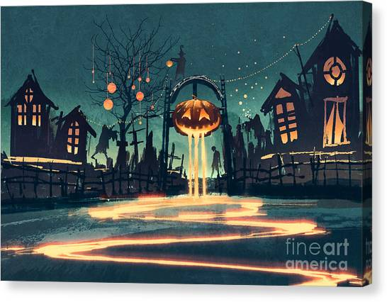 Happy Canvas Print - Halloween Night With Pumpkin And by Tithi Luadthong