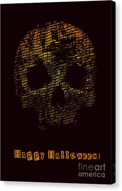 Engraving Canvas Print - Halloween Poster With Skull. Vector by Jumpingsack