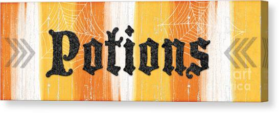 Witches Canvas Print - Halloween Potions Sign by Linda Woods