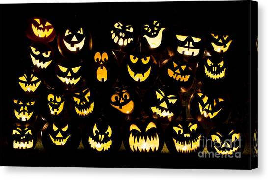 Halloween Canvas Print - Halloween Pumpkin Faces by Tim Gainey