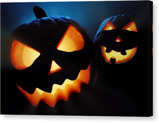 Pumpkins Canvas Print - Halloween Pumpkins Closeup -  Jack O'lantern by Johan Swanepoel