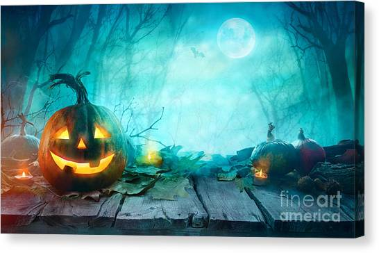 Medieval Canvas Print - Halloween Pumpkins On Wood. Halloween by Mythja