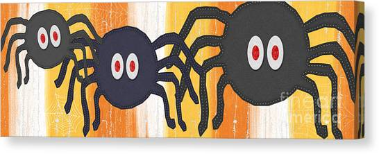 Spiders Canvas Print - Halloween Spiders Sign by Linda Woods