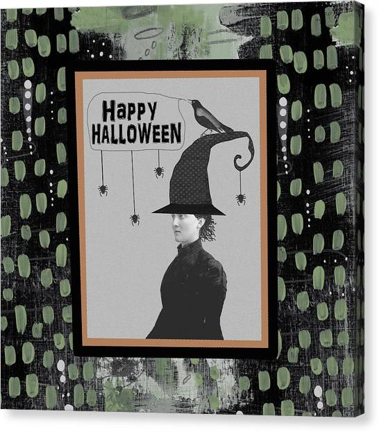 Halloween Canvas Print - Halloween Witch And Crow by Sarah Ogren