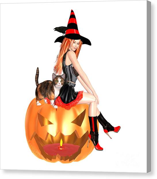 Luxmaris Canvas Print - Halloween Witch Nicki With Kitten by Renate Janssen