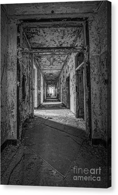 Insane asylums canvas print hallway grunge bw by michael ver sprill