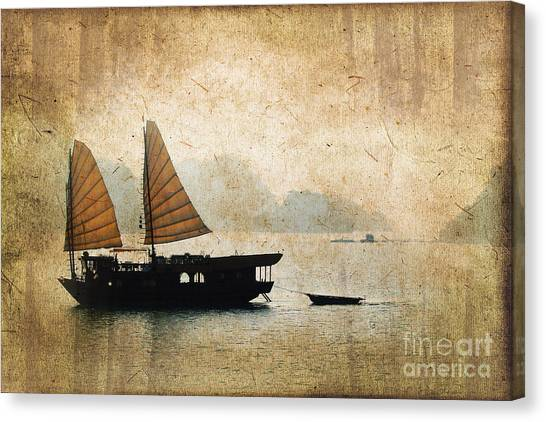 Vietnamese Canvas Print - Halong Bay Vintage by Delphimages Photo Creations