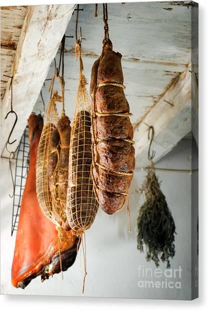 Smokehouses Canvas Print - Ham And Kulen by Sinisa Botas