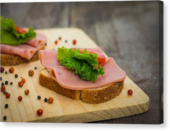 Sandwich Canvas Print - Ham Sandwiches by Aged Pixel
