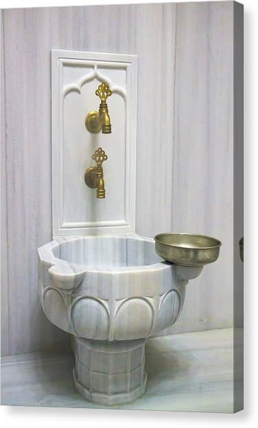 Hamam Marble Sink In Istanbul Canvas Print