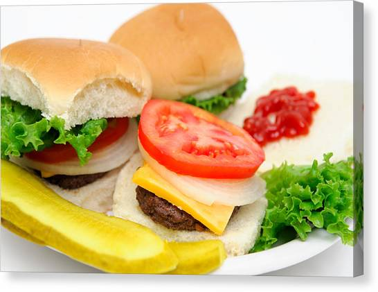 Hamburger And Pickles Canvas Print by Don Bendickson