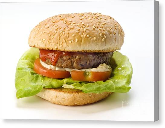 Mayonnaise Canvas Print - Hamburger by Martyn F. Chillmaid
