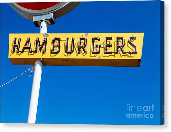 Fast Food Canvas Print - Hamburgers Old Neon Sign by Edward Fielding