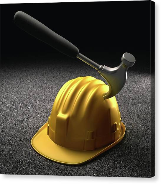 Hard Hat Canvas Print - Hammer Hitting A Hard Hat by Ktsdesign