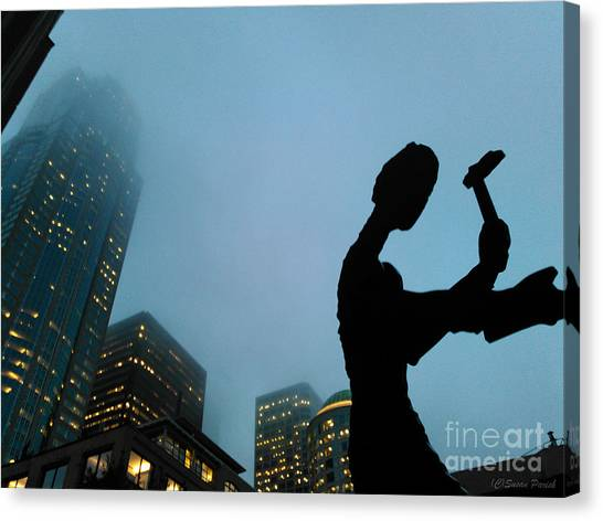 Canvas Print featuring the photograph Hammering Man Builds Seattle by Susan Parish