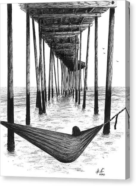 Ballpoint Pens Canvas Print - Hammock Under The Pier by Adam Vereecke