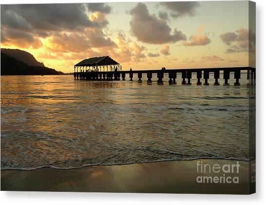 Surfboard Fence Canvas Print - Hanalei Beach by Bob Christopher