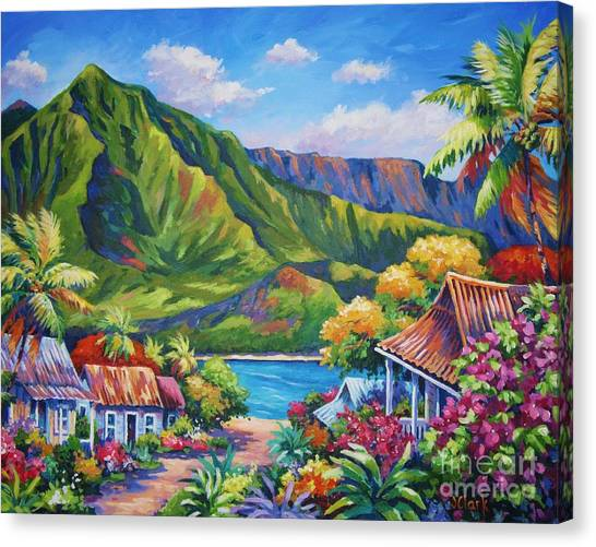 Hawaii Canvas Print - Hanalei In Bloom by John Clark