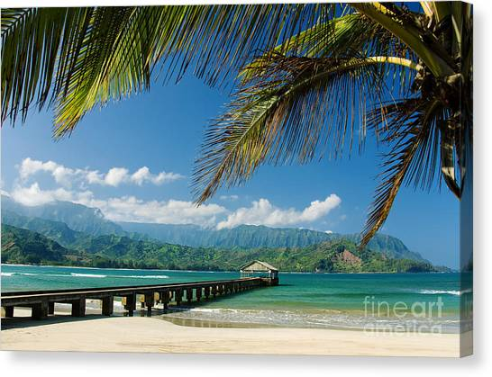 Beach Resort Canvas Print - Hanalei Pier And Beach by M Swiet Productions