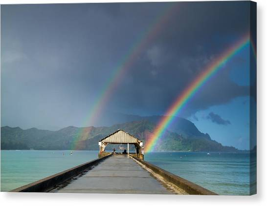 Hanalei Pier And Double Rainbow Canvas Print