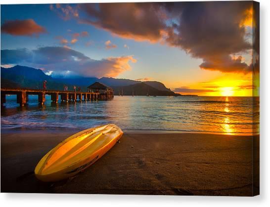 Hanalei Pier In Kauai At Sunset Canvas Print