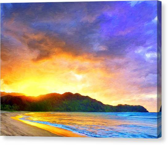 Mauna Loa Canvas Print - Hanalei Sunset by Dominic Piperata