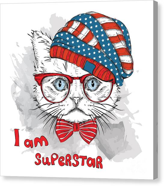 Hand Draw Cat In A Usa Hat. Vector Canvas Print by Sunny Whale