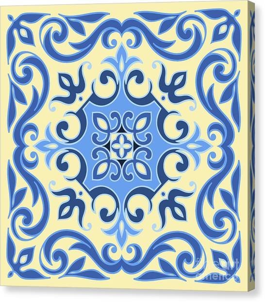 Hand Drawing Tile Pattern In  Blue And Canvas Print by Zinaida Zaiko